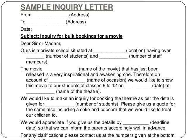 Sample Of Enquiry Letter Enquiry Letters Formal Letters How To