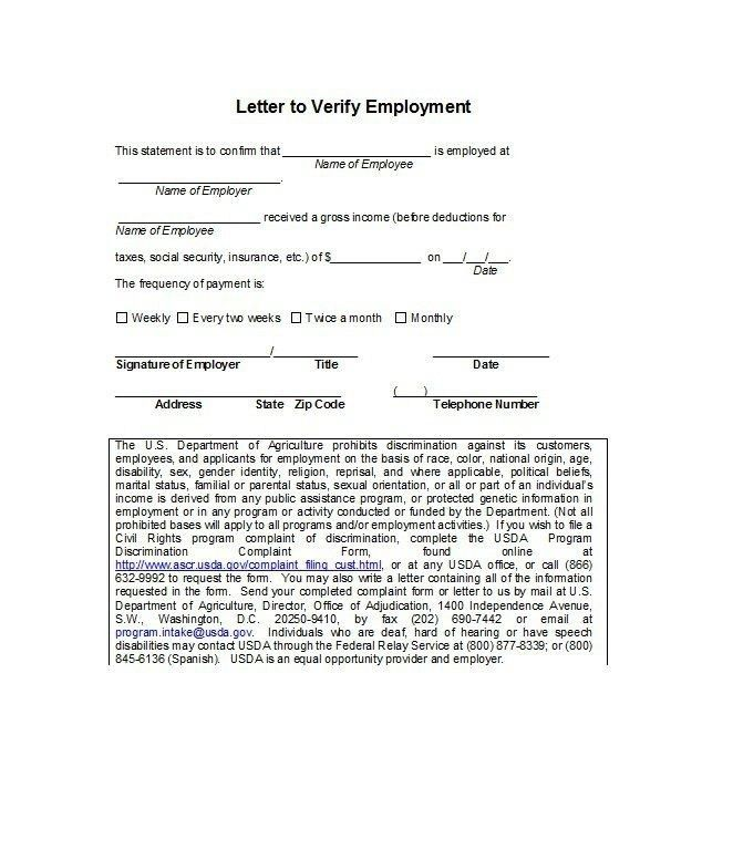 Verification Of Employment Form. Proof Of Employment Letter ...