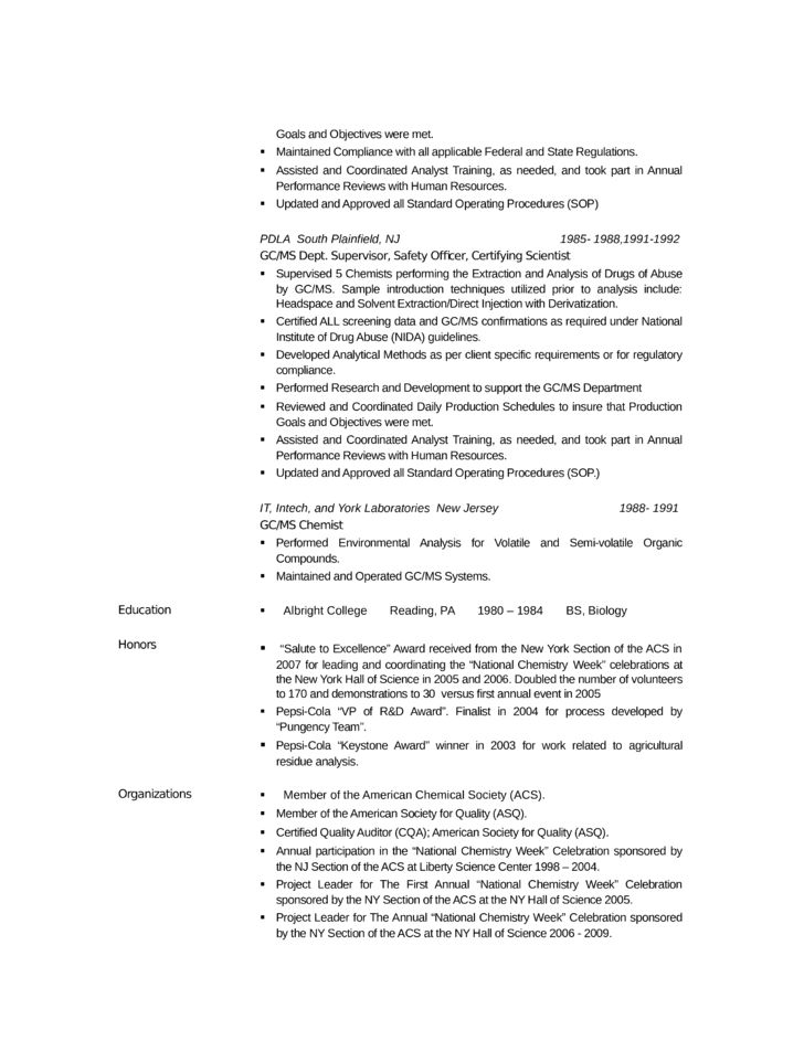 Analytical Chemist Resume Samples  Analytical Chemist Resume