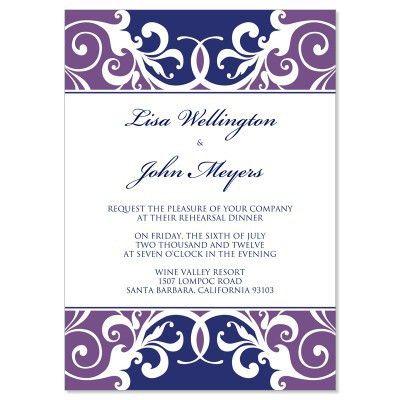 Purple & Blue Rehearsal Dinner Invitation Templates - Jordana Plum ...