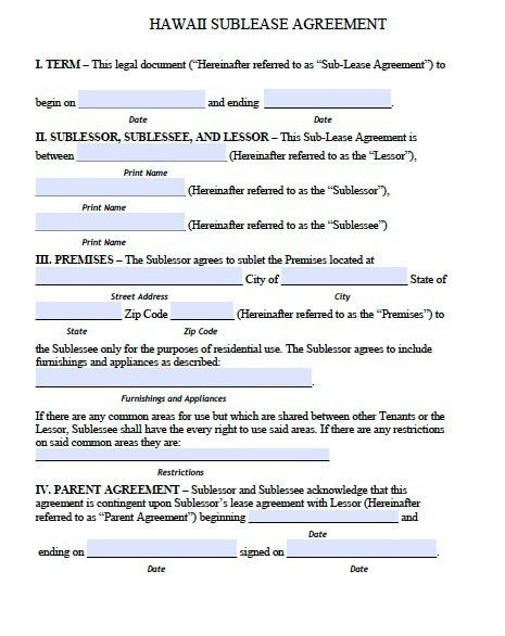 Free Hawaii Sublease Agreement Form – PDF Template