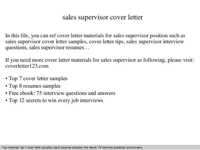 Sales supervisor cover letter