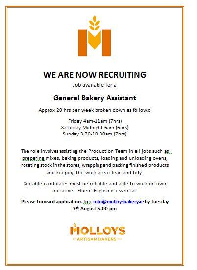 Current Vacancy at Molloy's Bakery – Molloy's Bakery