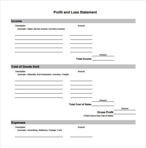free profit and loss templates - Template