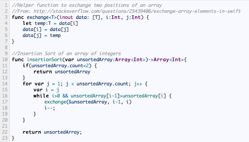 Insertion Sort algorithm: Swift & Objective-C implementations ...