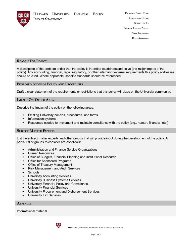 Financial Policy Impact Statement Template