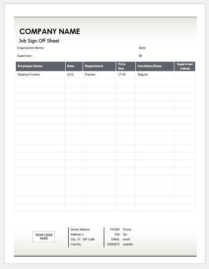 Job Sign Off Sheets for MS Word | Word & Excel Templates