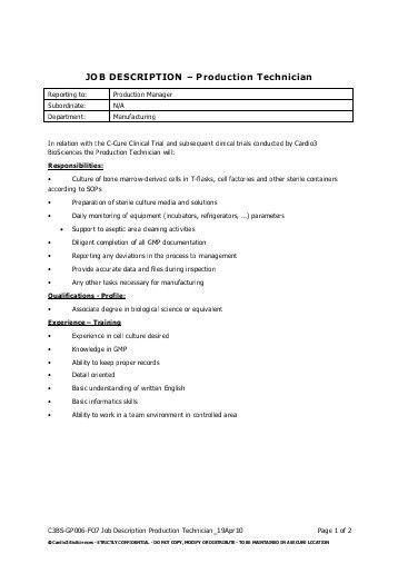 CrossFiber. Job Description Job Title: Manufacturing Technician ...