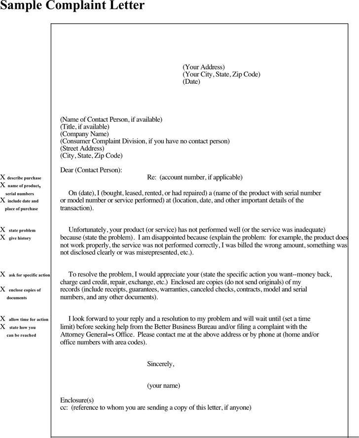 Sample Complaint Letter To The Better Business Bureau - Compudocs.us