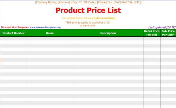 design price list template