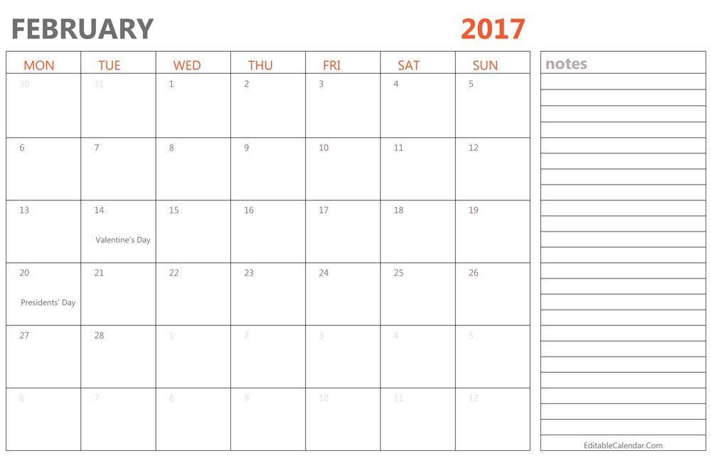 February 2017 Printable Calendar Templates