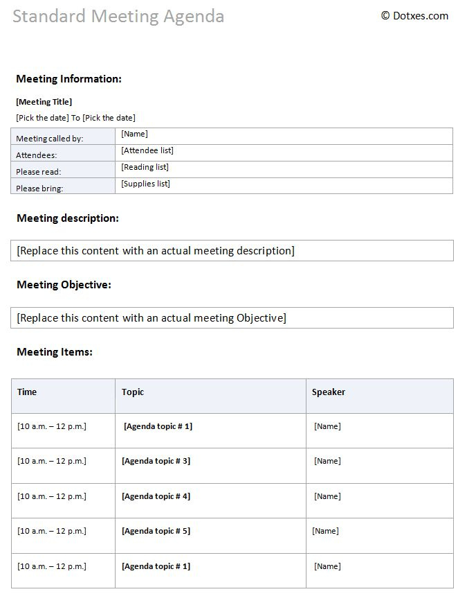Standard meeting agenda template - Dotxes