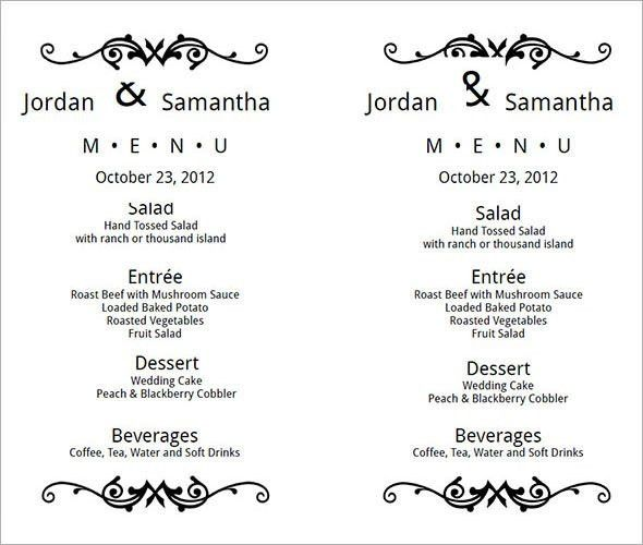 Wedding Menu Template 24+ Download in PDF, PSD, Word, Vector ...