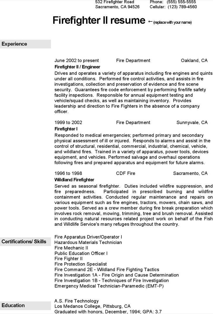Firefighter Resume Templates [Template.billybullock.us ]