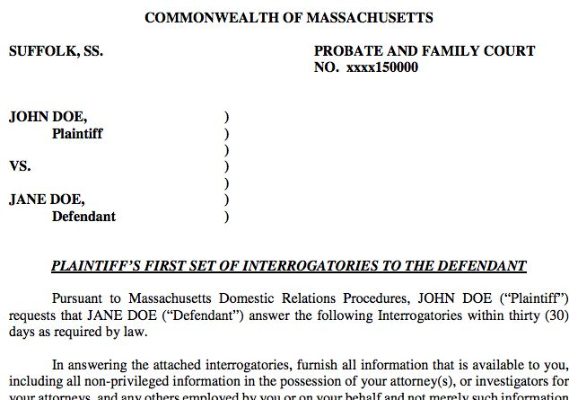Discovery in Massachusetts Divorce | Document Templates