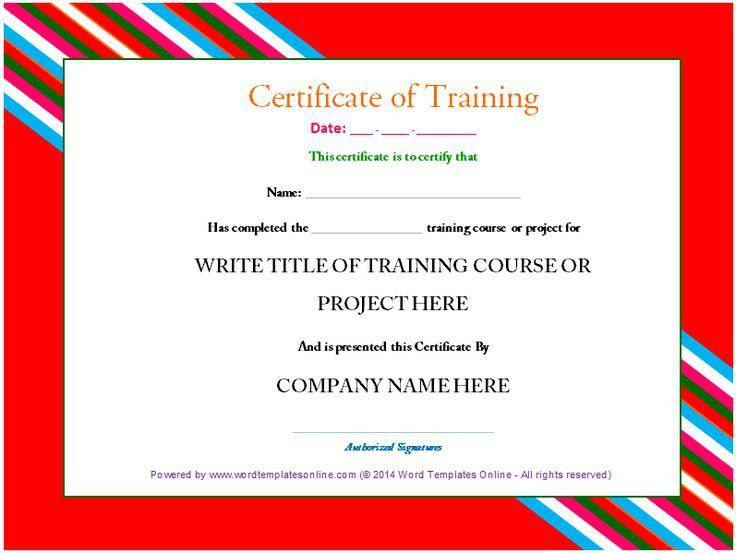 Professional Training Certificate template from word templates ...