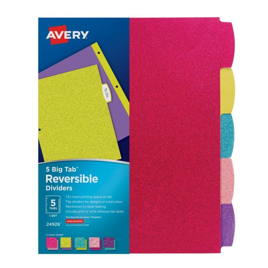 Avery Big Tab Reversible Fashion Dividers 8 12 x 11 Assorted ...
