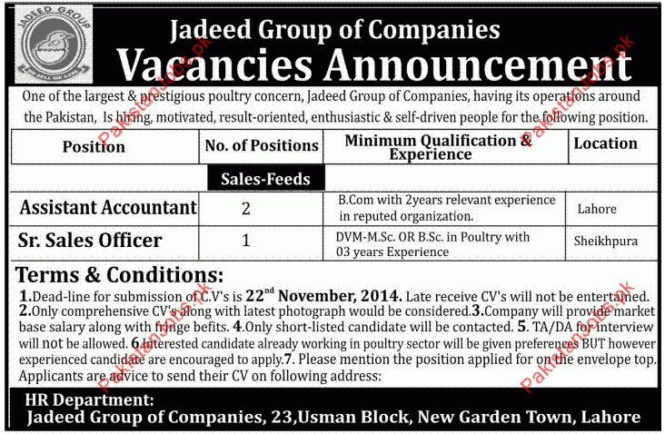 Assistant Accountant, Sr. Sales Officer - Jadeed Group of ...