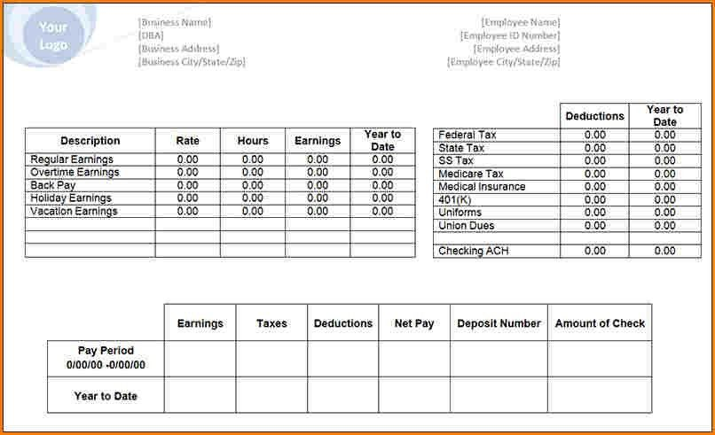 pay stub spreadsheet