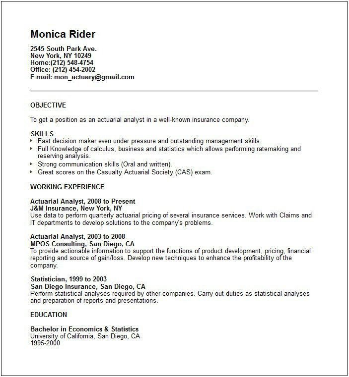 Surprising Actuarial Resume 14 Resume Examples 10 Best Of Actuary .
