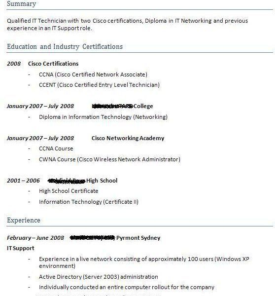 Cisco Network Associate Resume It Ccna Resume 5 Ccna Resume Sm