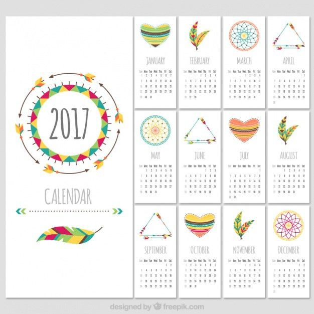 Boho style 2017 calendar template Vector | Free Download