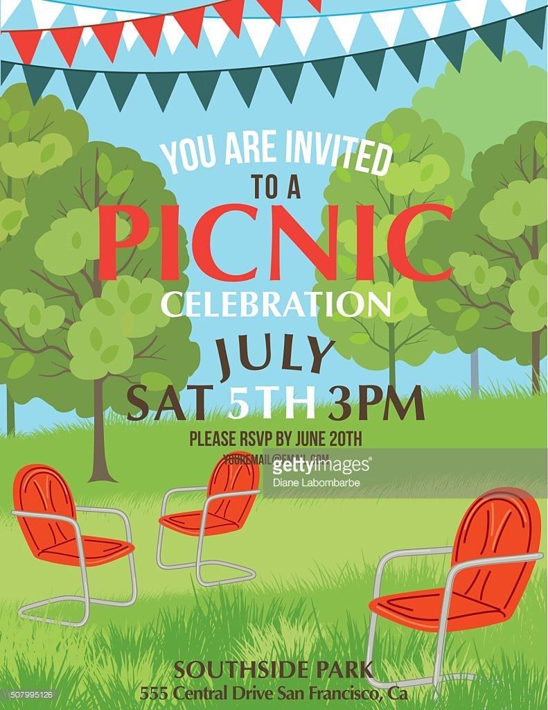 Summer Picnic Party Invitation Template Vector Art | Getty Images