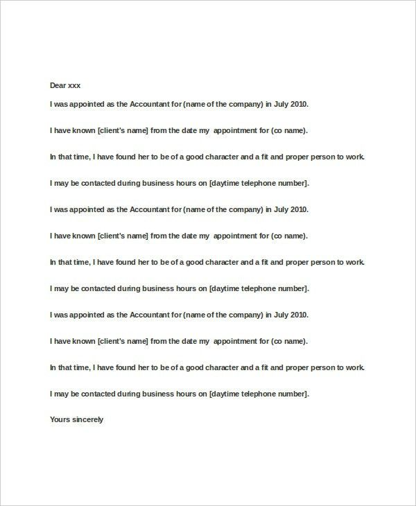 Accountant Reference Letter Templates - 8+ Free Word, PDF ...