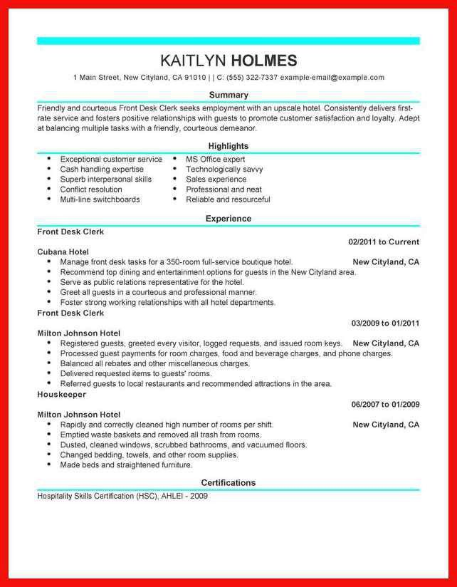 Hotel Clerk Resume. download hotel resume. emergency room clerk ...