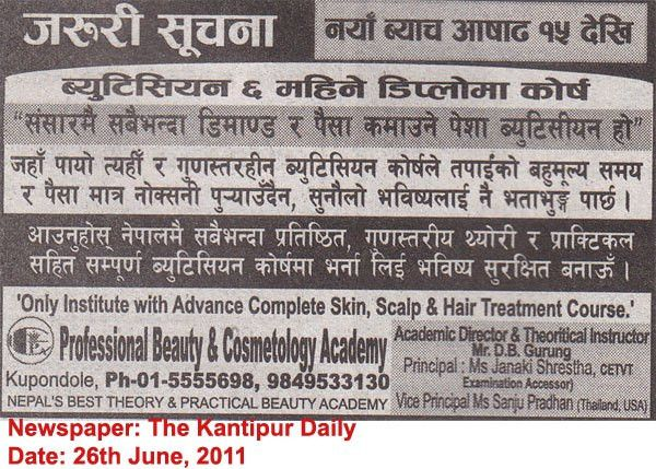 Beautician Course (Employment Training): Job Detail in Jobs Nepal