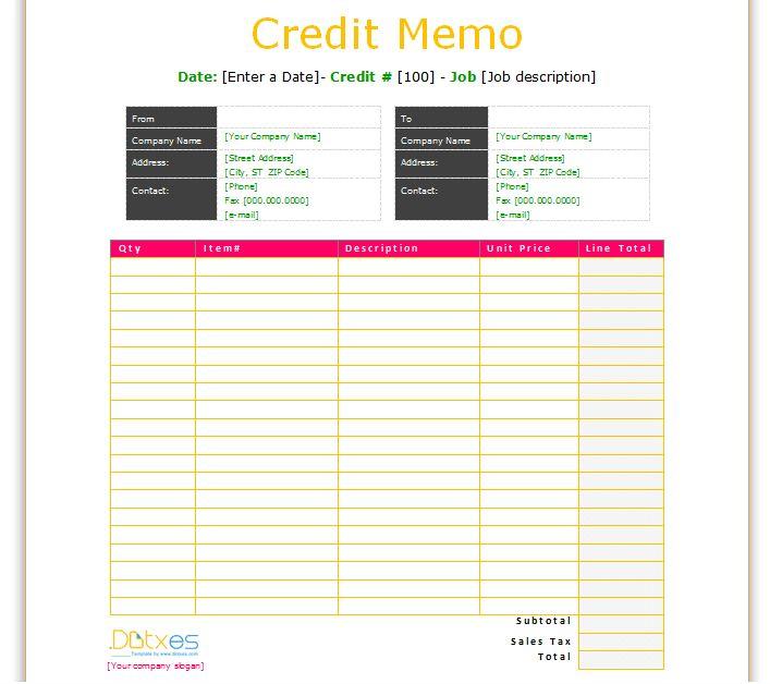 Credit memo template (Basic Format) - Dotxes