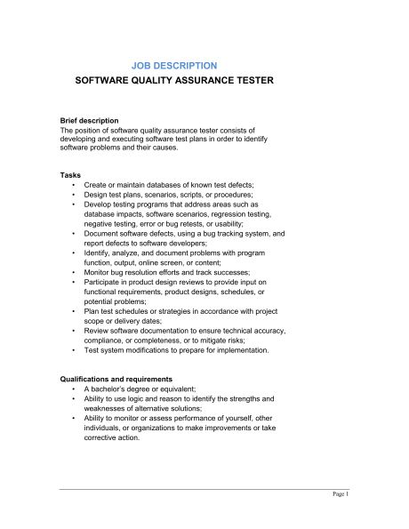 Software Quality Assurance Tester Job Description - Template ...