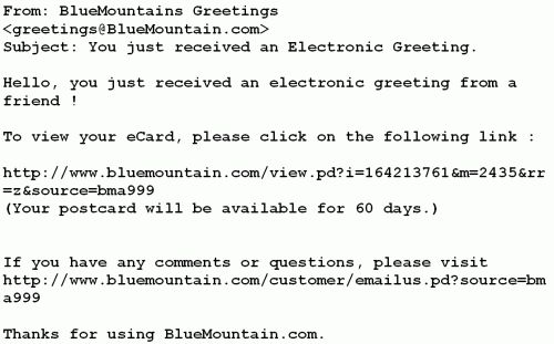 """Dynamoo's Blog: Fake """"BlueMountains Greetings"""" message with a trojan"""