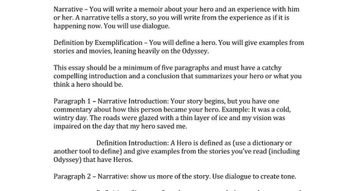example of essay story