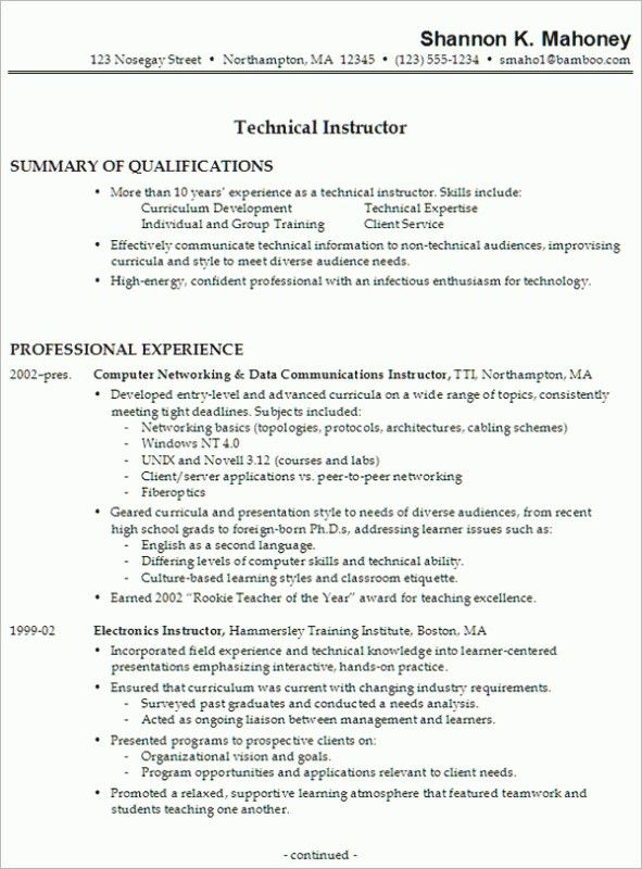 technical resume format resume samples examples brightside