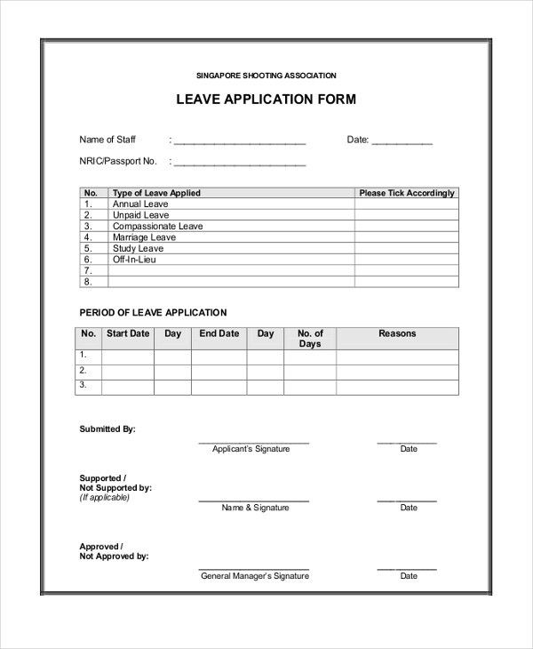 Leave Form Templates - Unitedijawstates