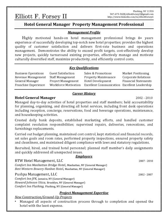 sample hotel general manager resume hospitality resume examples