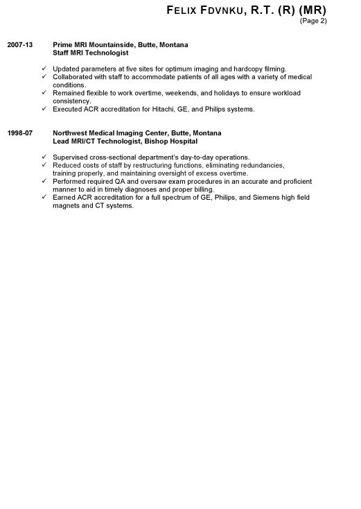 Resume Example for a Radiologic Technologist - Susan Ireland Resumes