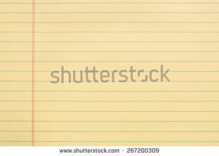 Yellow Notepad Paper Blue Lines Margin Stock Photo 267200309 ...