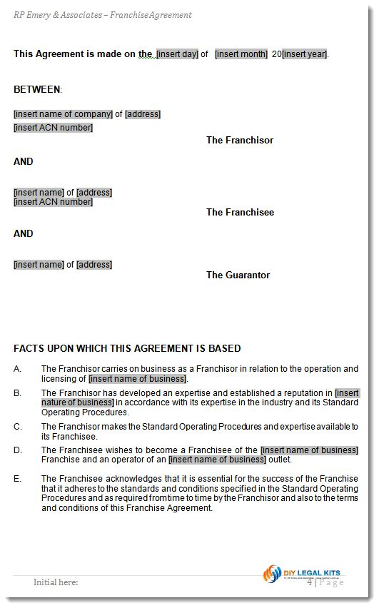Franchise Agreement Form Contract
