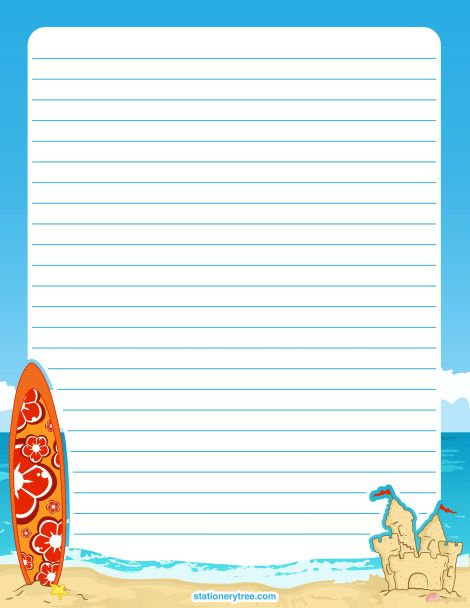 Printable beach stationery and writing paper. Multiple versions ...