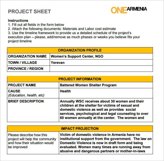 Project Sheet Template - 7 Free PDF Documents Download | Free ...