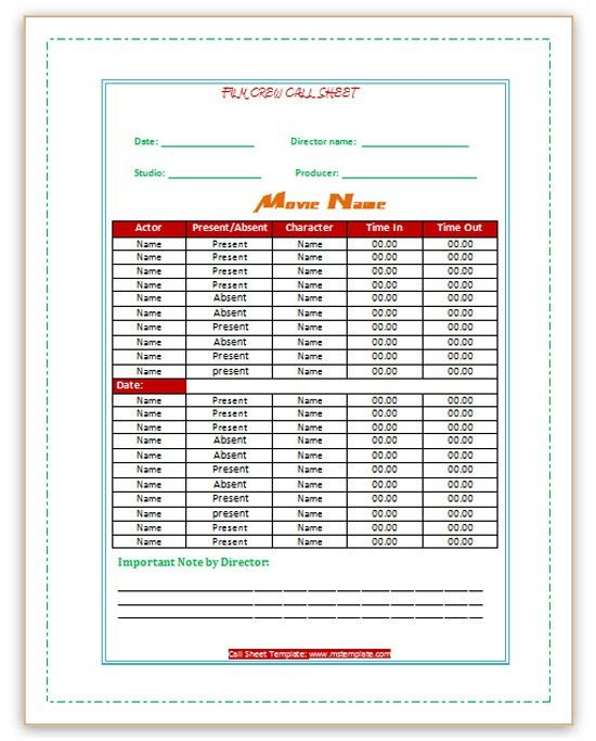 Call Sheet Template Microsoft Office Templates : Selimtd