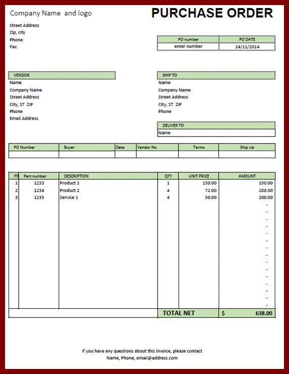 14+ purchase order excel template | sendletters.info