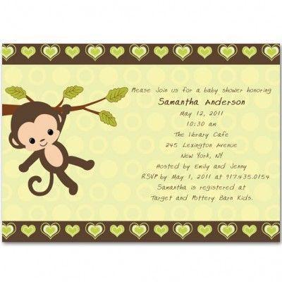 13 best Monkey Baby Shower Invitations images on Pinterest ...