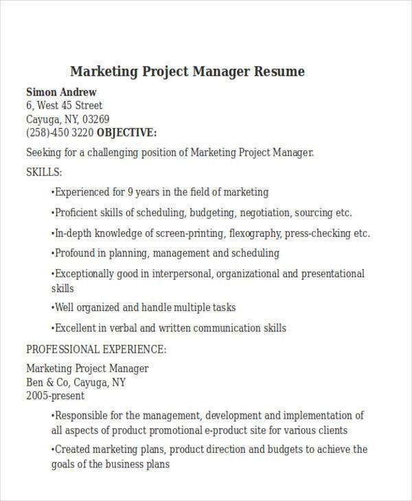 48+ Simple Marketing Resumes | Free & Premium Templates