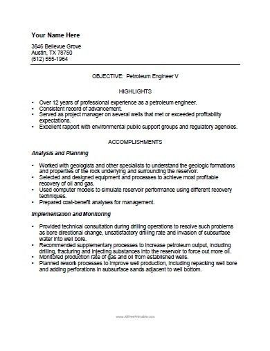 Petroleum Engineer Resume Template - Free Printable ...
