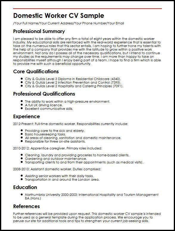 Domestic Worker CV Sample | MyperfectCV