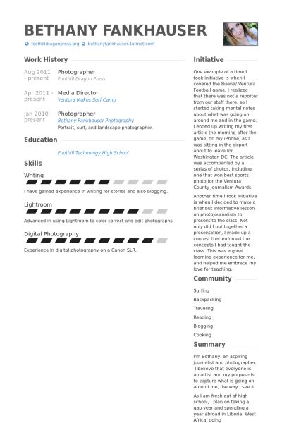 Photographer Resume Samples   VisualCV Resume Samples Database