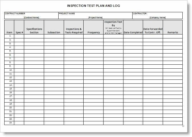 Inspection Test Plan Form Example